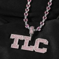 Mens Custom A to Z initial Letter Round &Baguette Pendant Silver Pink Necklace For Men Women Gifts with 16inch Tennis Chain