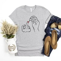 Women's T-Shirt Nail Polish Funny Printed Women T Shirts Causal Loose Cotton T-shirts Feminism Graphic Tee Fashion Tops Plus Size Drop
