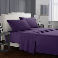 Bedding Sets Pure Purple Contracted Sheet Set Of Four, Sheet, Bed, 2 Pillowcases, Home Close Skin Fabric, Care Sleep, Neat And Comfortable