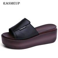Slippers RASMEUP Genuine Leather Women Wedges 2021 Fashion Summer Women's Platform Slides Outside Black White Casual Woman Shoes