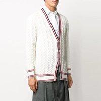Мужские свитера осенью TB Thom Cardigan шерсть женщины свитер полосатый V-образным вырезом пальто повседневная куртка корейский дизайн высокое качество моды с длинным рукавом 3BFP