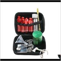 11Pc Set Portable Tobacco Bag Sets Cigarette Storage Kits Metal Snuff Bottles Filter Cup Glass Fume Tank Smoking Set Gga3746-4 29Flh Ygfxo