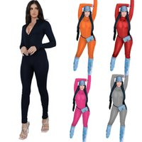 Fashion Women Rompers 2021 Winter Jumpsuits Slim Sexy Solid Colour Zipper Long Sleeve Skinny One Piece Pants