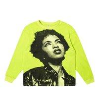 리 jialong mdsk 음악 축제, Lauryn 언덕 초상화 인쇄 높은 거리 스타일 긴 소매 티셔츠