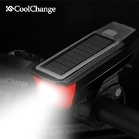 Coolchange bicycle headlight Cycling light Mountain Bike led Solar energy Horn lights USB rechargeable Electric horn MTP Accessories 4 in 1 function