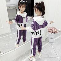 Clothing Sets 2021 Girls Winter Spring Fall Kids Teenager Clothes Child Strip Splice Hooded Sweatshirt Jacket + Pants 5 6 7 8 9 10 11 12 Yea