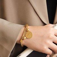 Link, Chain Gaku Korean Filament Round Beads Gold Coin Hip Hop Bracelet Titanium Steel Plated 18K Real