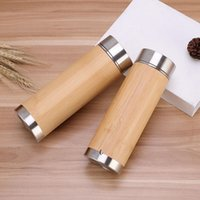 Bamboo Stainless Steel Vacuum Mug Car Straight Water Bottle Purple Clay Liner Handy Tumbler Business Gift OWE6806