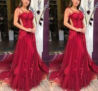 Sexy Burgundy Prom Dresses Spaghetti A-line Summer Tulle Evening Dress Applique Lace Formal Party Second Reception Gowns