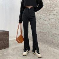 Jeans da donna Black Anteriore Nero Split Split Split E Autunno Stile Alta Vita sottile Micro Horn Drop Feeling Floor Fload Pants Pants Slit