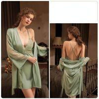 Women's Sleepwear Sexy Robe Sets Women Silk Lace Embroidery Kimono Summer Bath Gown Wedding Exotic Dresses Nightdress Nightwear