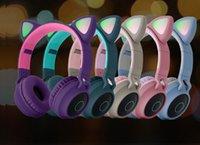 لطيف آذان القط سماعة اللاسلكية بلوتوث 5.0 عقال سماعات لعبة ملونة أدى ضوء سماعة الجمال هيفي سماعات الموسيقى grils الاطفال هدية يو بي إس