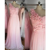2019 New Arrival One Shoulder Chiffon Long Evening Dresses A-line Backless Hand made Flowers Prom Bridesmaid Dress Formal Pageant