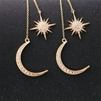 Sol e Moon Brincos Celestial Pingente Vintage Fantasia Mystical para Mulheres Dangle Candelabro