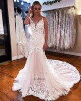 2022 Vintage Lace Wedding Dress Mermaid V Neck Spaghetti Straps Long Train Bridal Gowbs White Ivory Appliqued Desaigner Marriage Dresses suknia slubna
