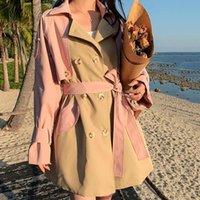 Women's Trench Coats Korean Pink Orange Windbreaker Mid-length Coat 2021 Spring Loose