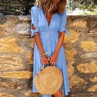 Summer Short Sleeve Solid Beach Dress Office Lady V-Neck Button Shirt Dresses Party Casual Long Dress Robe Vestido Plus Size 5XL