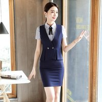 Work Dresses Formal Uniform Styles Blazers 2 Pieces With Tops And Skirt For Women Business Wear Waistcoat & Vest Coat Female Sets