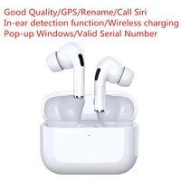 Yüksek kaliteli Airpods Pro Wirless Earphones Gerçek Seri NO. Metal Menteşe Kılıfları GPS Rename Kablosuz Şarj Bluetooth Kulaklıklar Kulak Algılama ile