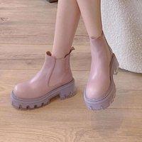 Мартин Женщины 2021 Новый британский стиль повседневные толстые здоровая обувь, универсальный розовый наклон пятки Челси короткие ботинки