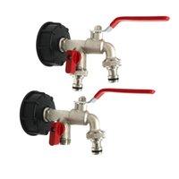 Equipements d'arrosage DWZ IBC Connecteur de réservoir de carburant Eau de jardin Double robinet Adaptateur Robinet Robinet Attant1PCS