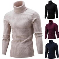 Men's Sweaters Winter Turtleneck Thick Warm High Neck Sweater Mens Solid Color Slims Pullover Men Knitwear Male