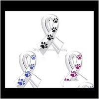 Лента Броче женщин эмаль Pet Paw Prints Pins и кошка собака мемориальная булавка черная синяя брошь металлический атласный значок SPZ9W B2PFV
