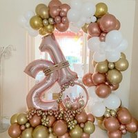 Rose Gold Balloons Wedding Decorations Heart Number Foil Balloon Chrome Latex Baby Shower Birthday Party Helium Globos Decoration