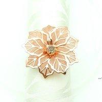 꽃 모양의 냅킨 링 금속 냅킨 버클 링 호텔 웨딩 파티 테이블 장식 타월 장식 버클 멀티 컬러 HHF8600