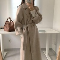 Women's Wool & Blends Autumn Winter Casual Blend Trench Coat Oversize Long With Belt Women Cashmere Outerwear