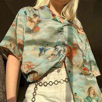 Blouses Ladies Autumn Women's Classic Angel Print Shirt Streetwear Loose Thin Short Sleeve V Neck Casual Femme Blusa Tops 210513