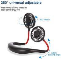 Ventilateur USB portable mains libres Sports de plein air rechargeables à 360 degrés tournants paresseux suspendu bande de cou portable ventilateur avec lampe LED owe8447