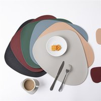 Mats & Pads 4 PCS Black Placemats For Table Waterproof Non-Slip Insulation PVC Leather Place Mat Set Nordic Style Cup