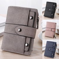 Wallets Women Simple Retro Rivets Studded Frosted Short Wallet Coin Purse Hasp Zipper Card Holders Hand Bag #25*