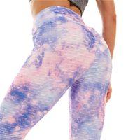 IritDREAM 2021 Yeni Kadın Spor Tayt Seksi Yüksek Taille Kravat Boya Baskı Gym Broek Artı Boyutu 3XL Elastik Push Up Bacaklar