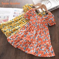 Girl's Dresses Bear Leader Baby Girl Summer Flowers Dress 2021 Fashion Kids Girls Puff Sleeve Party Costume Chidlren Princess Vestidos 2-6Y