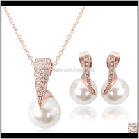 & Necklace Sets Delivery 2021 Fashion Wedding Jewelry Set For Women Crystal Big Faux Simulated Pearl Pendant Drop Earrings Bride Lx0398 Nwbos