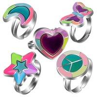 Leuchtendes Pfirsich Herz Liebe Schmetterling Mond Pentagramm Gefühl Temperatur Stimmung Farbwechselring Verstellbar 7PJ0
