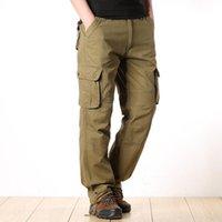 Мужские брюки Baldauren Открытый комбинезон Свободные Большой Размер Мультикарманские Брюки Хлопок Тенденция прямой Повседневная Износостойкая Осень