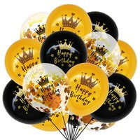 15pcs set Crown Birthday Balloon Gold Black Confetti Balloons For Anniversary Wedding 50 Year Old Party Decoration