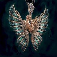 الرجعية كريستال حجر الراين قلادة القلائد فراشة أجنحة قلادة سلسلة النساء الرجال ملاك الحب الملحقات مجوهرات الأزياء 3 76FS N2