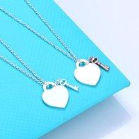 سلاسل السيدات الراقية الفاخرة على شكل قلب مفتاح 100٪ 925 فضة قلادة للنساء مجوهرات هدية