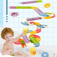 Magical DIY Baby Bath Toys Wall Suction Cup Marble Race Run Track Bathroom Bathtub Kids Play Water Games Toy Set for Children 210831