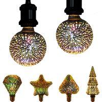 3D Star Led Bulbs ST64 E27 Voltage:110-230V AC Retro Filament   4w Edison Bulb Light Holiday Decoration Bar Glass Lamp usalight