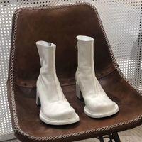 Dress Shoes 2021 autumn thick heel high heels side zipper wild Martin boots retro white short tube casual fashion warm women's XGZ