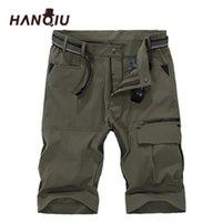 Мужские шорты Hanqiu Brand Cargo Mens 2021 лето Быстрый сушильный пляж Homme Strechy Mid-талию мужской плюс размер M-5XL тонкий