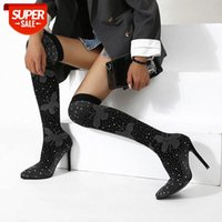 Fashion Runway Crystal Stretch Fabric Sock high heels Boots Pointed Toe Over-the-Knee Heel Thigh High Woman Boot Drop Ship #d86L