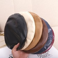 PU Leather Women Beret Hat Fashion Street French Artist Warm Beanie Cap Autumn Winter Retro Solid Color Berets WXY086