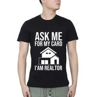 Männer T-Shirts fragen mich nach meiner Karte Ich bin Immobilien-Geschenk Mietmakler Streetwear O Neck T-Shirt Sommer Casual