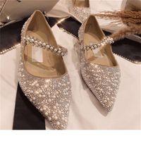 diseñador moda clásico mujer zapatos planos cristal metal jimmy plano boca aguamarte zapatos de boda de cristal 34-40